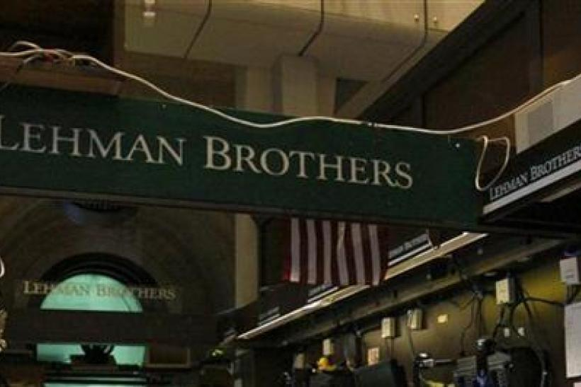 The Lehman Brothers booth on the trading floor of the New York Stock Exchange