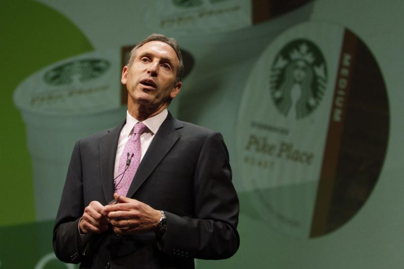Starbucks CEO Howard Schultz speaks to shareholders about the company's partnership with the Keurig single-serve coffee brewing machine, at the company's annual meeting of shareholders in Seattle