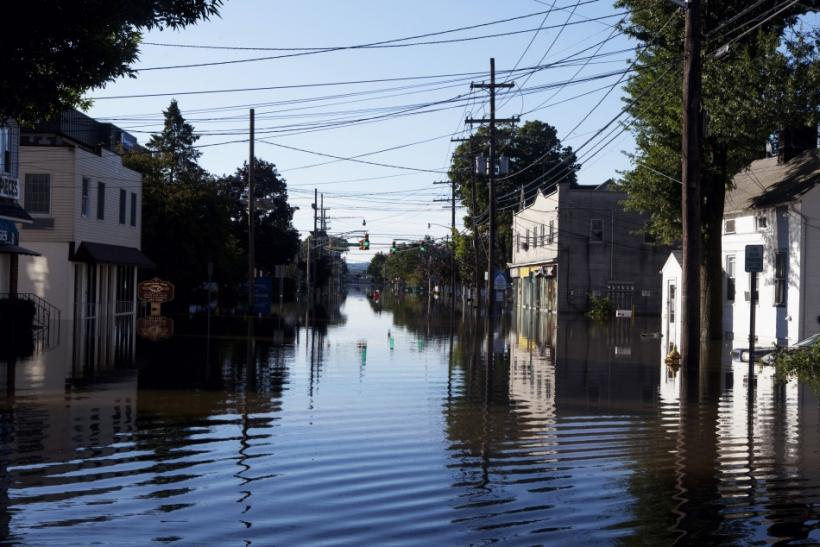 A flooded street in Wayne, N.J. from Hurricane Irene