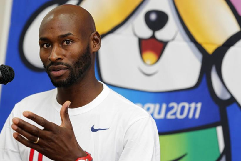 Bernard Lagat of the U.S. attends a news conference ahead of the IAAF World Championships in Daegu