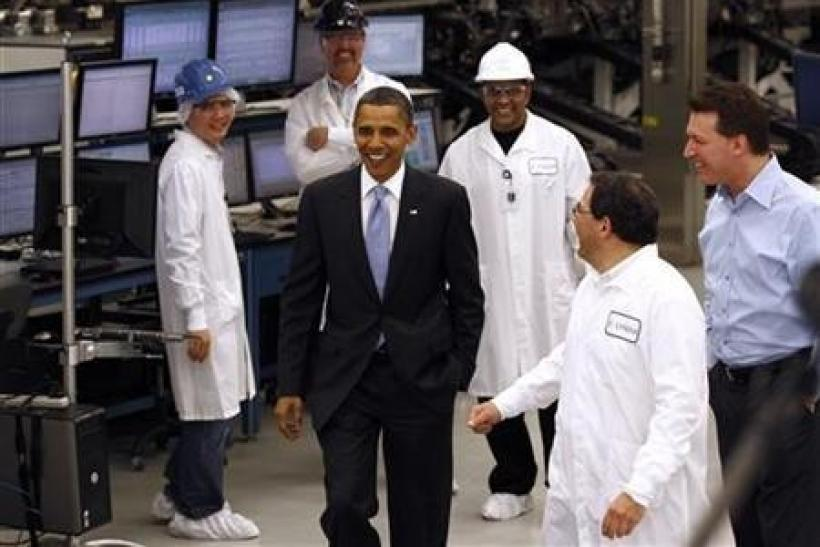 President Barack Obama tours Solyndra, Inc., a solar panel manufacturing facility in Fremont, California
