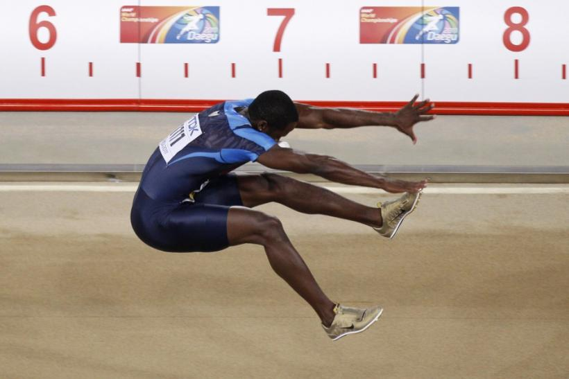Phillips of the U.S. competes during the men's long jump final at the IAAF World Championships in Daegu