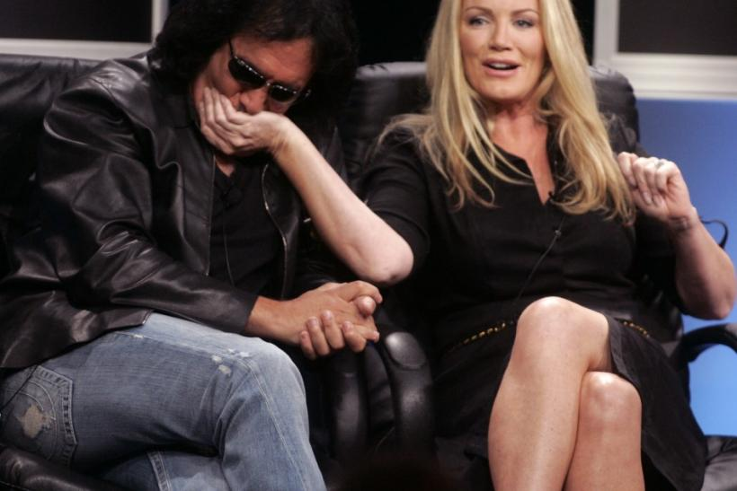 "Rock star Gene Simmons of the band ""KISS"" (L) and partner of 23 years former Playboy Playmate Shannon Tweed of the new A&E network reality series ""Gene Simmons Family Jewels"", speak during a panel discussion at the Cable Television Cri"