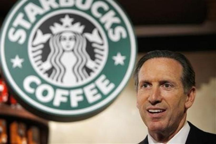 Starbucks Chief Executive Howard Schultz attends a news conference in Tokyo
