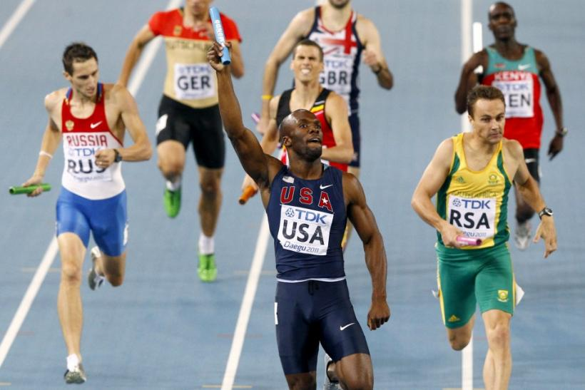 LaShawn Merritt of the U.S. celebrates the U.S. winning the men's 4x400 metres relay final in Daegu