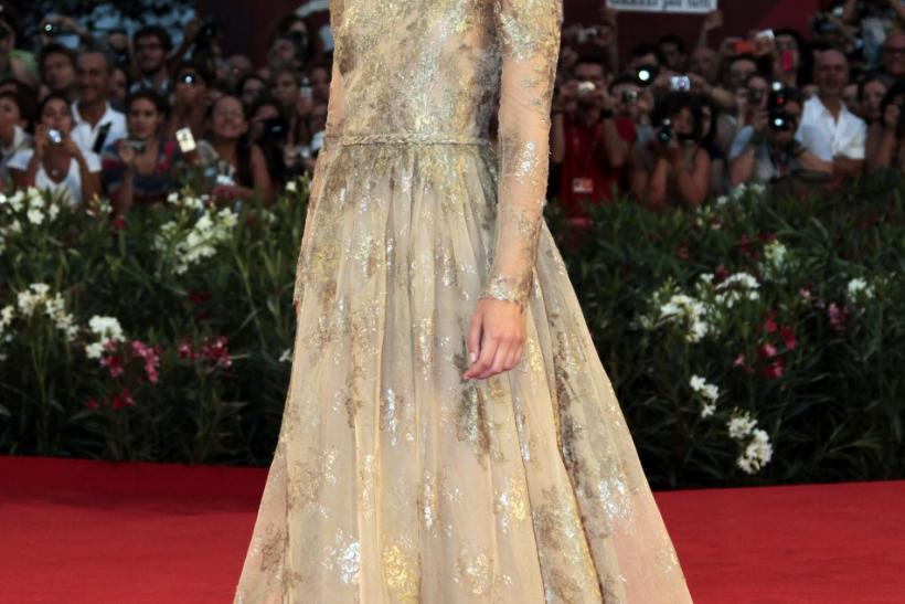 "Actress Keira Knightley arrives on the red carpet for her film ""A Dangerous Method"" at the 68th Venice Film Festival"