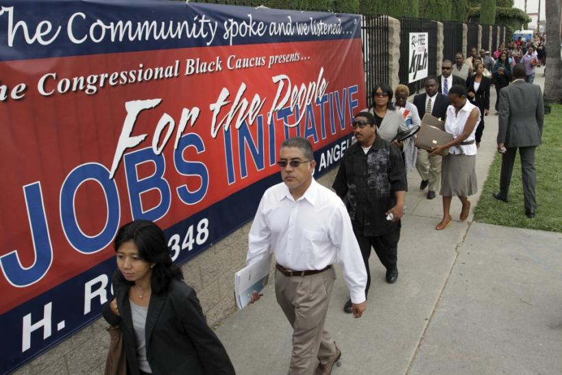 Job seekers line up at the Congressional Black Caucus For The People Jobs Initiative job fair in Los Angeles