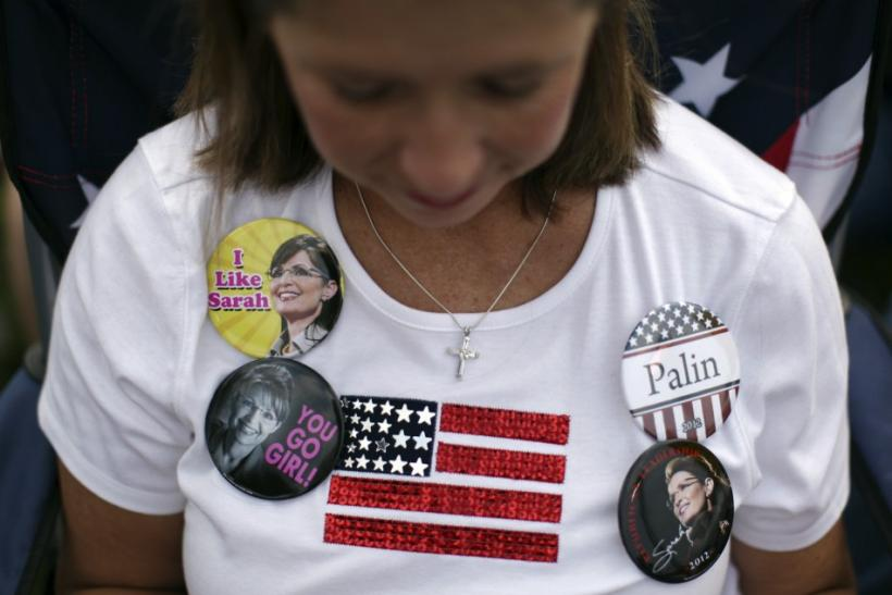 A supporter of former Governor of Alaska Sarah Palin attends a rally organized by the Tea Party of America in Indianola, Iowa