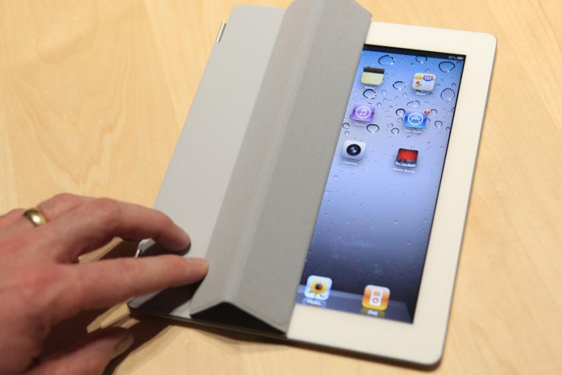 The iPad 2 with a Smart Cover is shown in use in the demonstration area after the iPad 2 launch during an Apple event in San Francisco 02/03/2011