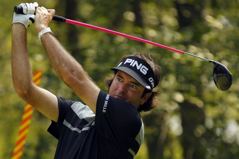 Bubba Watson of the U.S. hits from the ninth tee during the second round of the Deutsche Bank Championship golf tournament in Norton
