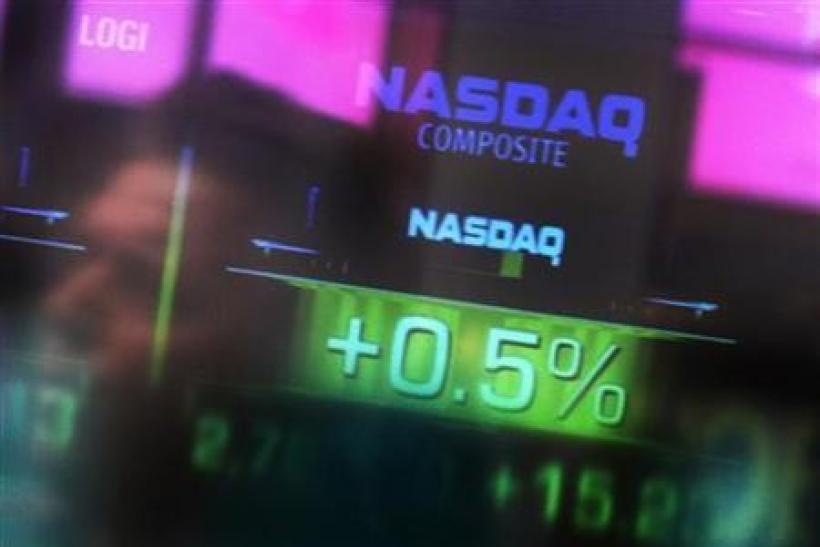 The Nasdaq Composite stock market index is seen inside its studios at Times Square in New York in this file image