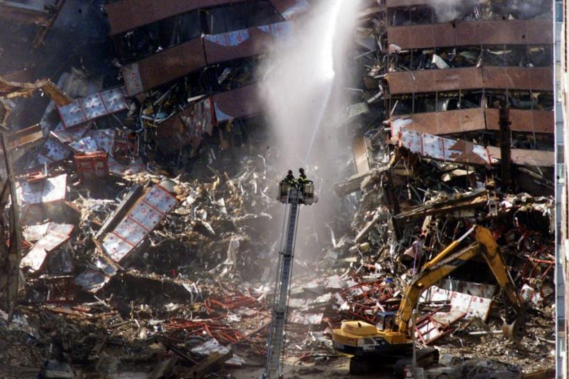 WRECKAGE OF WORLD TRADE CENTER DISASTER ON MORNING AFTER ATTACK.