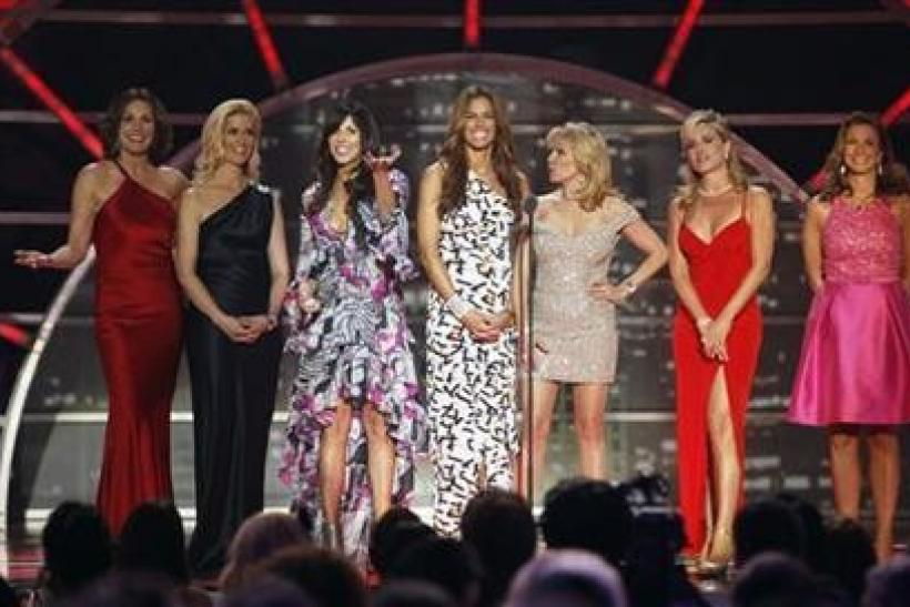The cast of ''The Real Housewives of New York City'' present an award during the 2011 TV Land Awards in New York