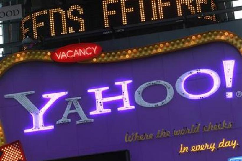 A Yahoo! billboard is seen in New York's Time's Square