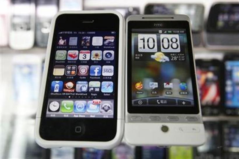 An HTC smartphone and an Apple iPhone