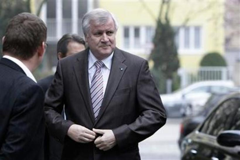 Bavarian state premier and leader of CSU Seehofer arrives for board meeting in Munich