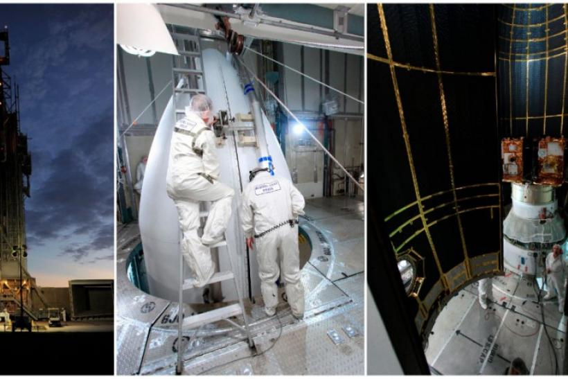 Combination photos of NASA's twin GRAIL spacecraft set for launch on September 8, 2011