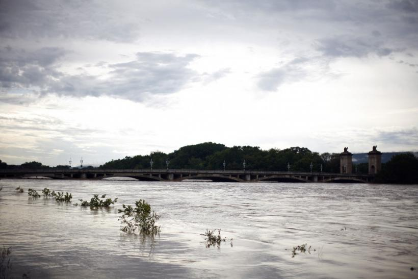 The swollen Susquehanna River is seen in Wilkes-Barre