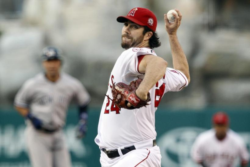 Angels starting pitcher Haren works against the Yankees during the first inning of their MLB American League baseball game in Anaheim
