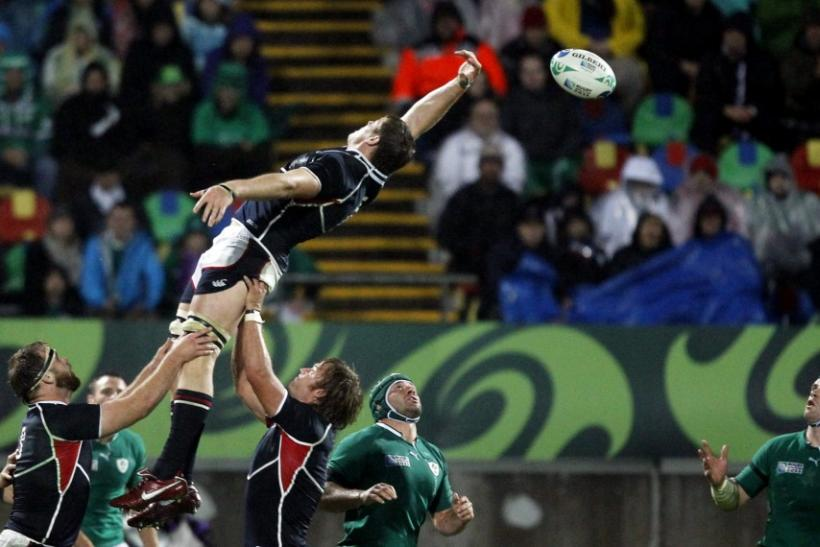 Hayden Smith of the U.S. fails to control a line out during their Rugby World Cup Pool C match against Ireland at Stadium Taranaki in New Plymouth