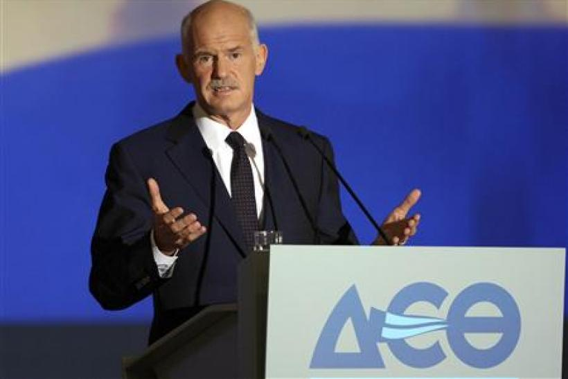Greece's PM Papandreou addresses the audience at the International Trade fair of Thessaloniki in northern Greece
