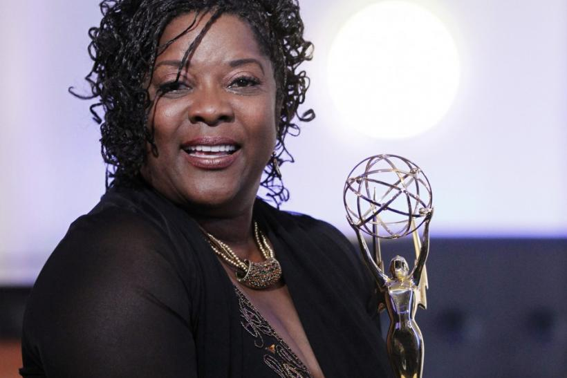 "Actress Loretta Devine holds with her Outstanding Guest Actress In A Drama Series Emmy award for portraying Adele Webber on ""Grey's Anatomy"" backstage at the 2011 Primetime Creative Arts Emmy Awards in Los Angeles"