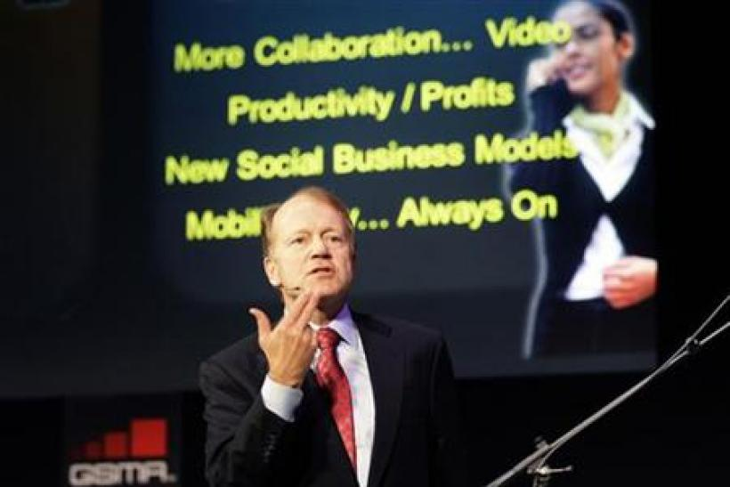 Cisco Chairman and CEO John Chambers delivers a speech at the GSMA Mobile World Congress in Barcelona