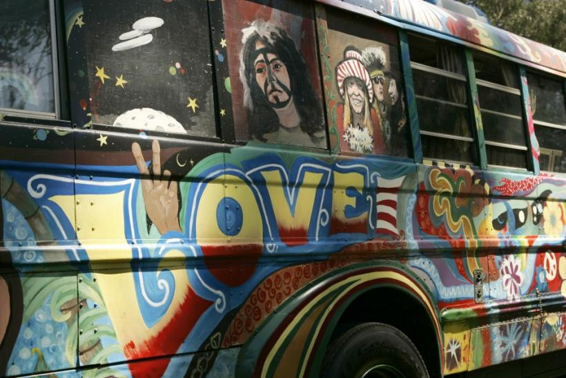 "A bus designed with colorful art from the 1960's, is shown during the ""Summer of Love"" 40th anniversary concert at Golden Gate Park in San Francisco"