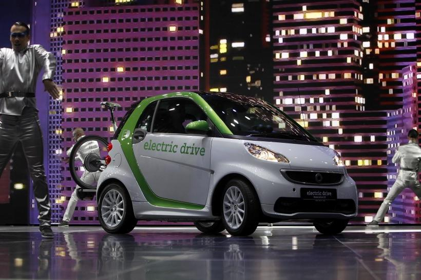A Smart Fortwo Electric Drive by Mercedes-Benz is displayed during the International Motor Show (IAA) in Frankfurt