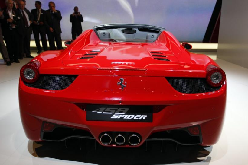 The new Ferrari 458 spider is displayed at the International Motor Show (IAA) in Frankfurt