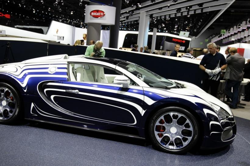 The Bugatti Veyron L'Or Blanc is seen at the International Motor Show (IAA) in Frankfurt