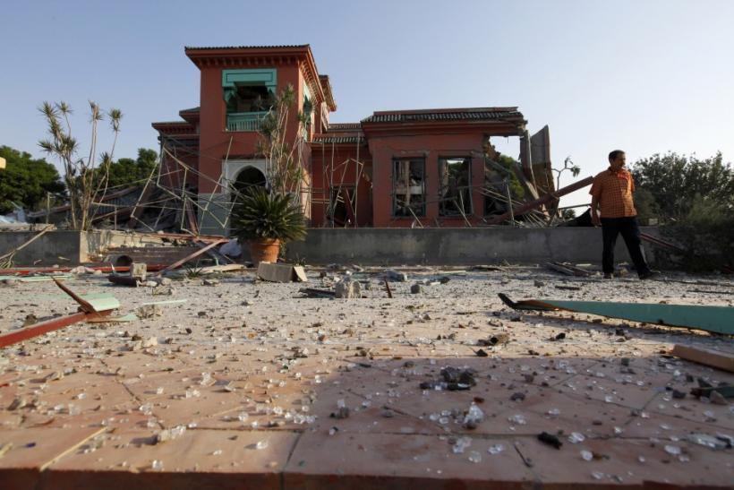 A view is seen of Muammar Gaddafi's ransacked country house 15 kilometres south of the capital Tripoli