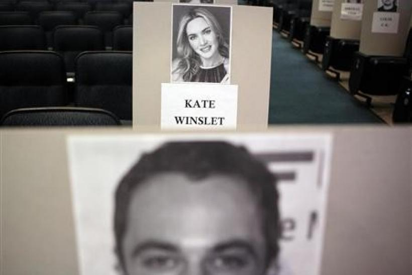 Seating place cards for actors are seen during preparations for the 63rd Primetime Emmy Awards in Los Angeles, California