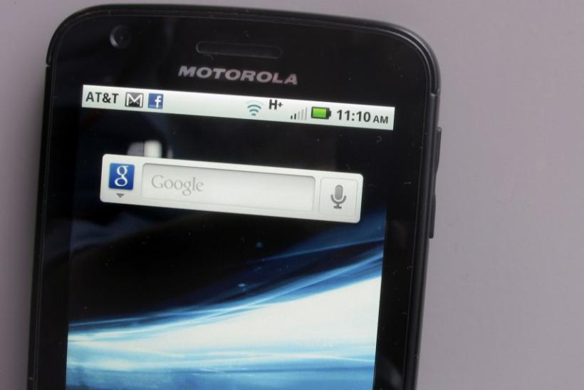A Motorola Droid phone is seen displaying the Google search application in New York