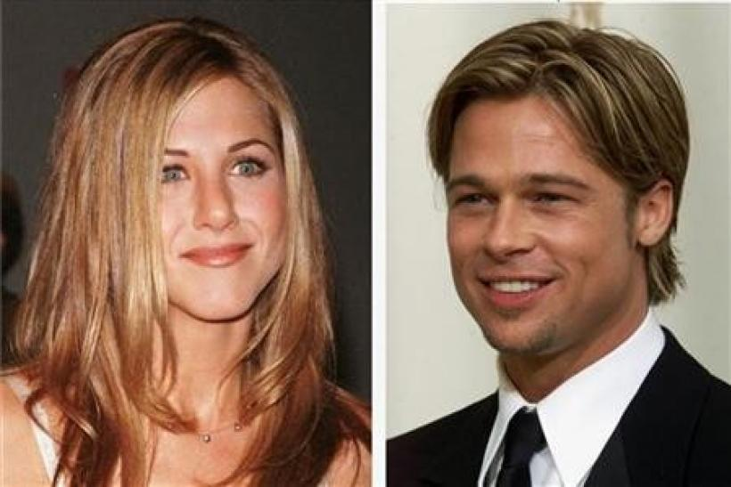 Brad Pitt and Jennifer Aniston are shown in undated file photos.