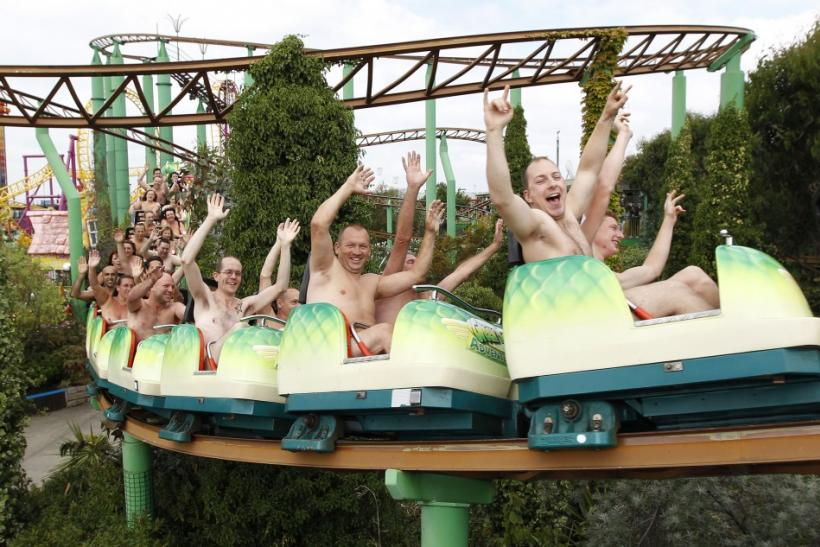 Thrillseekers take part in a world record-breaking nude rollercoaster ride
