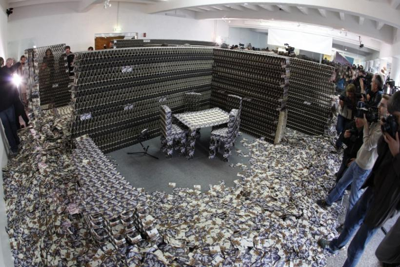 A flat made from about 300,000 beer mats
