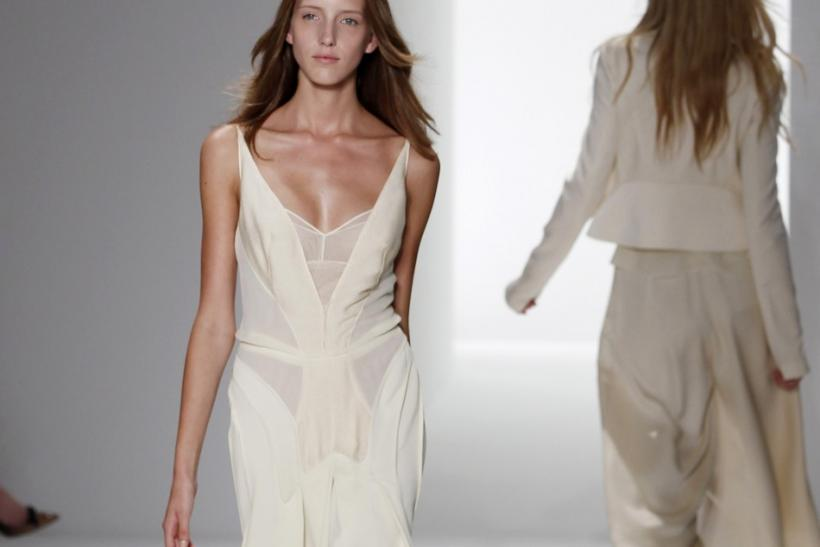 A model presents a creation from the Calvin Klein Spring/Summer 2012 collection during New York Fashion Week