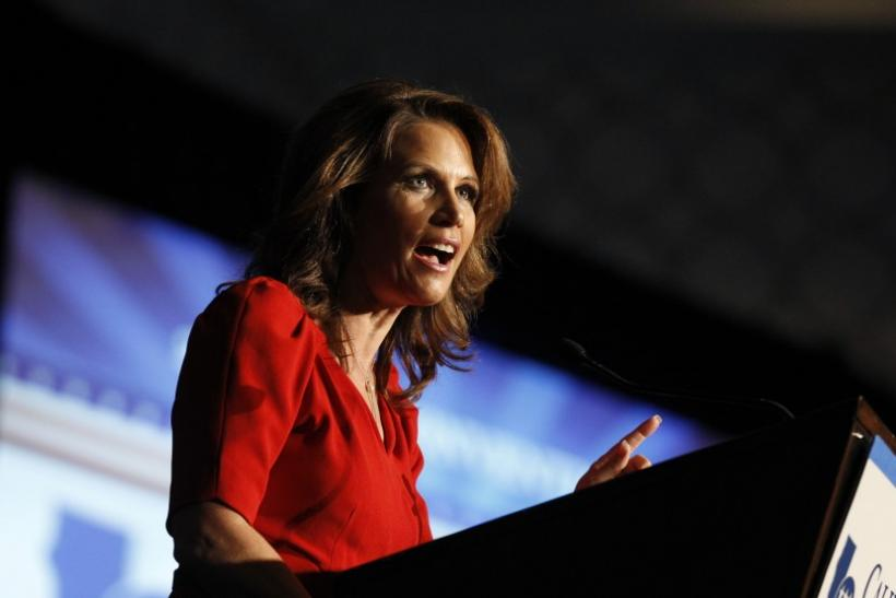 U.S. Republican presidential candidate, Rep. Michele Bachmann (R-MN), speaks at the California Republican Party fall convention in Los Angeles