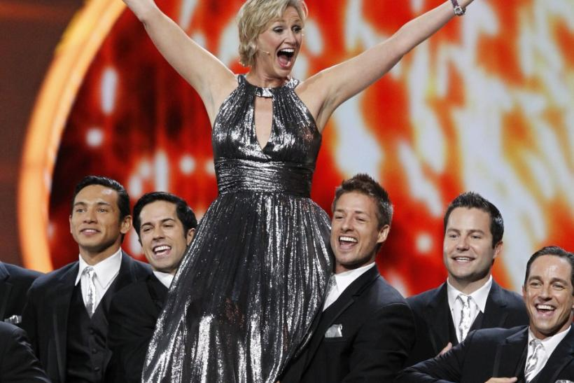 Host Jane Lynch performs the show-opening act at the 63rd Primetime Emmy Awards in Los Angeles