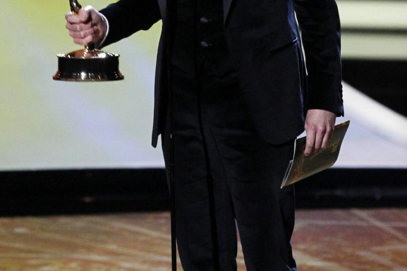 "Jim Parsons from ""The Big Bang Theory"" accepts the Emmy award for outstanding lead actor in a comedy series at the 63rd Primetime Emmy Awards in Los Angeles"