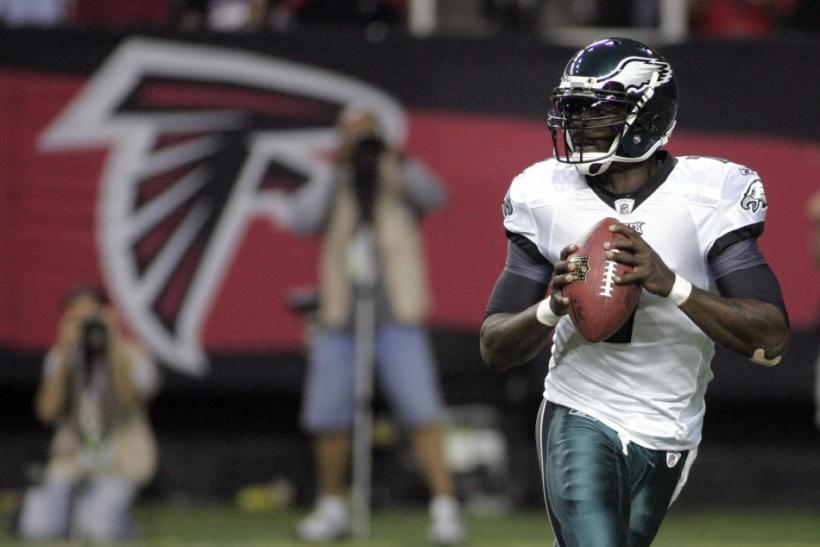 Eagles quarterback Vick looks to throw in his return to play the Atlanta Falcons as the starter for the Eagles, in the first half of their NFL football game in Atlanta.