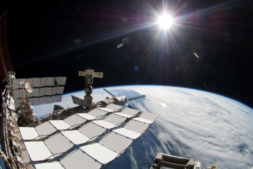 NASA handout image of the ISS and the Earth