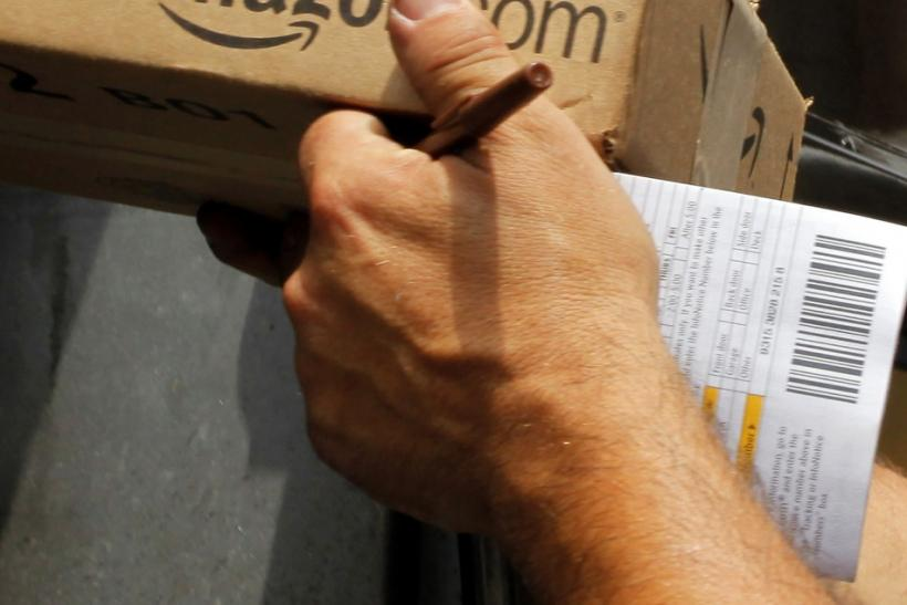 Driver delivers two packages from Amazon.com in Boston, Massachusetts