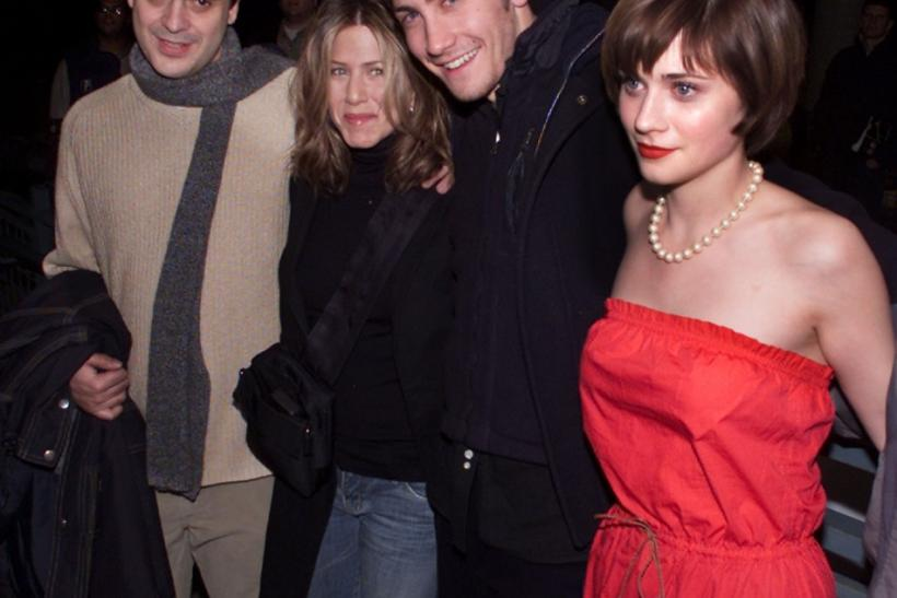 "The director and cast of the film ""The Good Girl"" arrives for a screening of the film January 12, 2002 at the 2002 Sundance Film Festival in Park City, Utah. Shown (L-R) are director Miguel Arteta, Jennifer Aniston, Jake Gyllenhaal and Zooey Des"