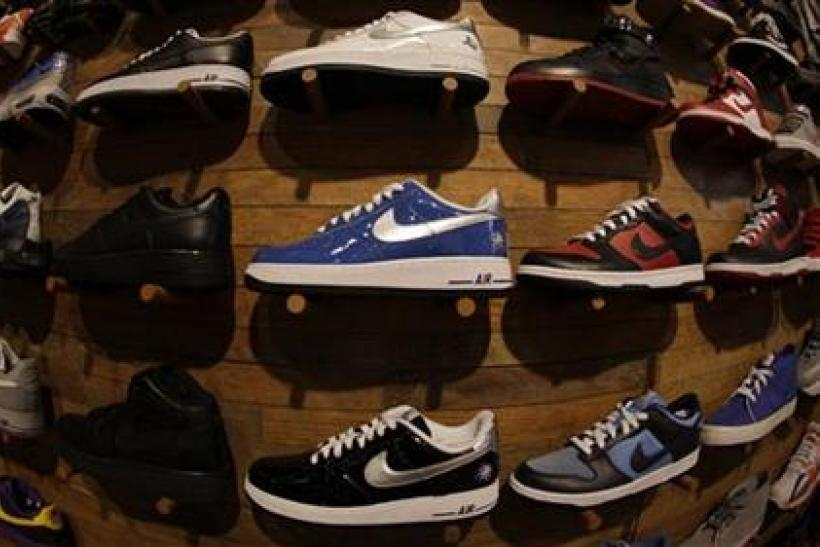 Nike shoes on display.