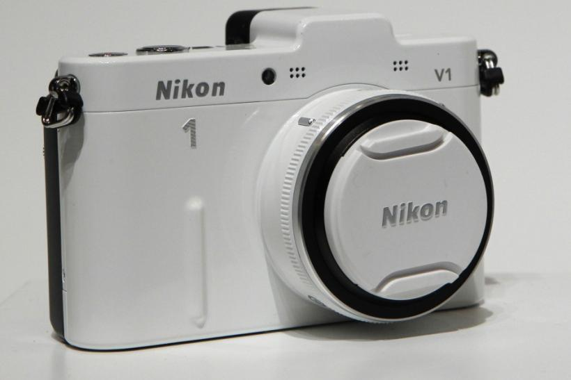 Nikon Corp's new camera Nikon 1 V1 is displayed at its unveiling ceremony in Tokyo