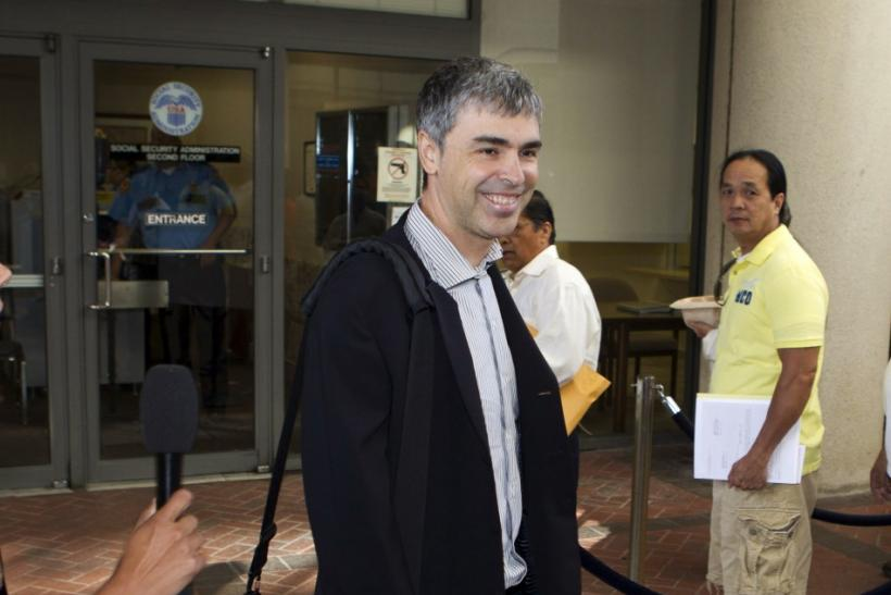 Google Inc. CEO Larry Page arrives at the Robert F. Peckham Federal Courthouse in San Jose