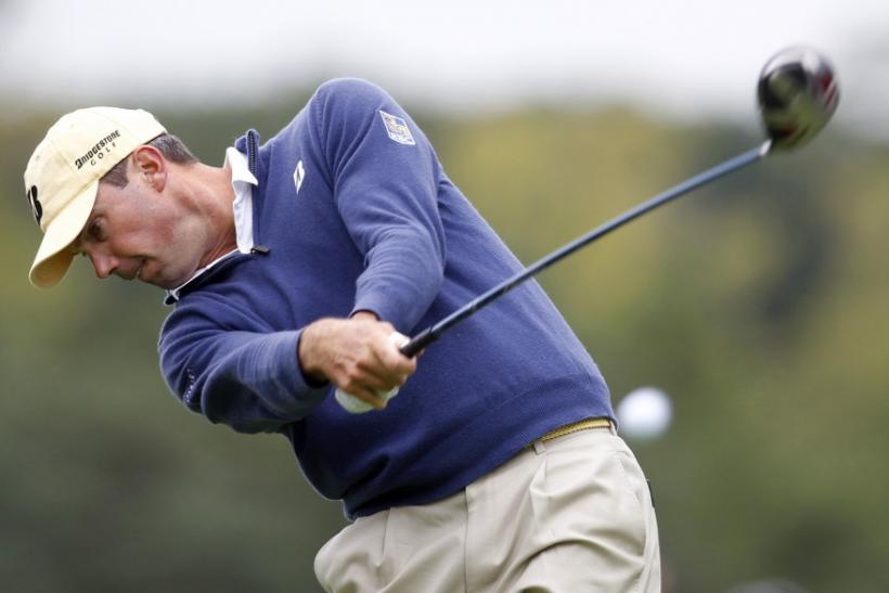 Matt Kuchar of the U.S. hits his tee shot during PGA Tour FedExCup BMW Championship golf tournament in Lemont