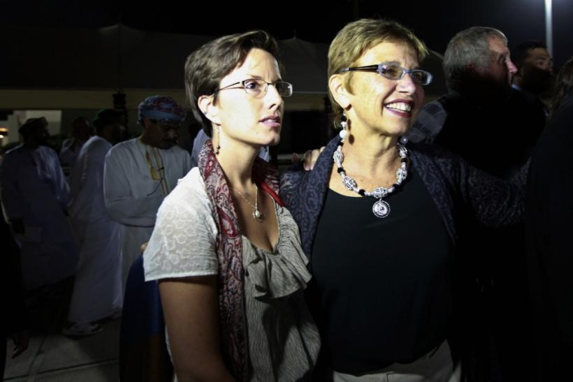 Laura Fattal, mother of Josh Fattal and Sarah Shourd wait for the arrival of Josh and Shane Bauer, U.S. hikers who were held in Iran on charges of espionage, in Muscat after their release from Tehran's Evin prison